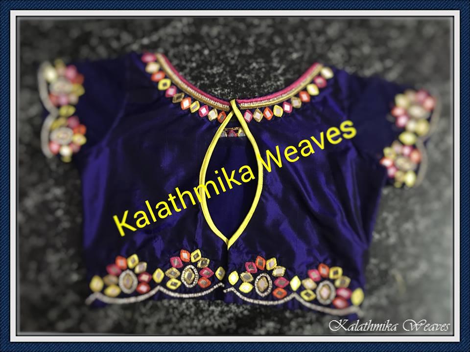 Kwb01 Hand Embroidered Mirror Work Blouse Kalathmika Weaves